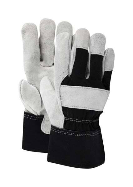 Ace Mens Indoor Outdoor Cotton Leather Work Gloves - Black and Gray, Large