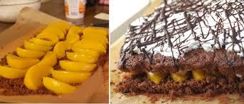 pfirsichtorte vegan rezept mit schokoteig biskuit und pfirsiche