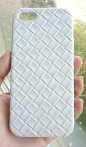 New Iphone SE Iphone 5 White Woven Leather Faux Vegan Elegant Sophisticated Modern Fashion Case Cover handmade by Yunikuna