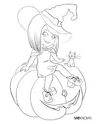 Witch Coloring Pages For Free Halloween