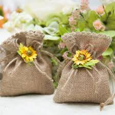 60pcslot Drawable Jute Hessian Burlap Candy Bags Vintage Chic Wedding Pouch Rustic Decor Party