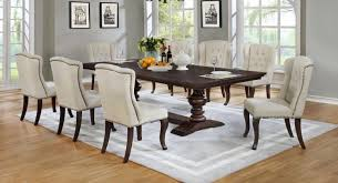 Best Quality D35 9PC 9 Pc Sania II Collection Espresso Finish Wood Rustic Style Dining Table Set With Tufted Chairs