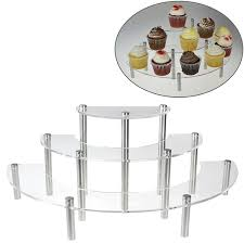 Clear Acrylic 3 Tier Half Moon Shelf Unit Table Top Retail Display Riser Spice