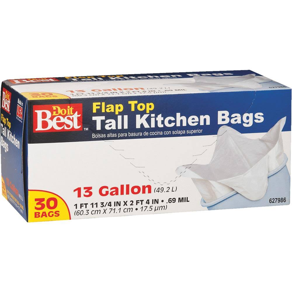 Presto Products 627986 Flap Top Tall Kitchen Bags - 13 Gallon, 30ct