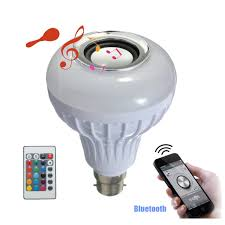 AC100 240V 12W B22 LED RGB White Wireless Bluetooth Speaker Light