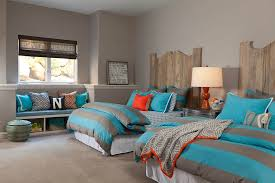 Transitional Kids Bedroom In Gray And Blue With A Dash Of Rustic Beauty