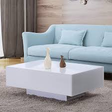 100 Living Room Table Modern Mecor High Gloss White Rectangle Coffee SideEndSofa 1 Layer Home Furniture Small Size