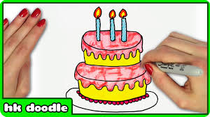 How to Draw A Birthday Cake by HooplaKidz Doodle