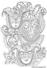 Adult Zen Anti Stress Mask Carnival Coloring Pages