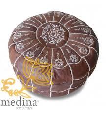 pouf marocain design arcade en cuir marron un pouf entièrement en