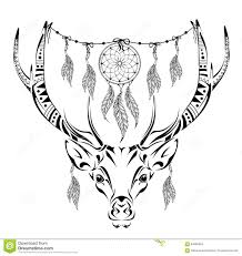 Hand Drawn Magic Horned Deer For Adult Anti Stress Coloring Page