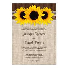 A Rustic Wedding Invitation Featuring Burlap And Lace Design With Sunflowers On Dark Barn