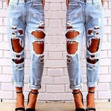 2017 2017 autumn ripped jeans female casual washed holes