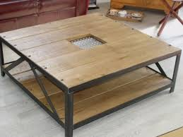 table basse carre bois et mtal meuble loft design table dans table