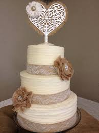 Well Suited Lace And Burlap Wedding Cake Plain Decoration Ideas Inspirations
