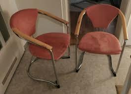 2 esszimmer stühle mit lehne retro vintage rosa lachfarben