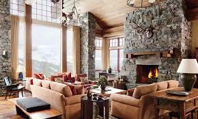 Spacious Rustic Living Room Cabin Furniture
