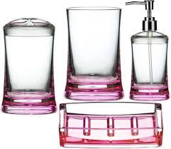 piece bathroom accessories set pink amazoncouk kitchen home