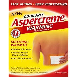 Aspercreme Pain Relief Patch, Odor Free, Warming - 5 patches