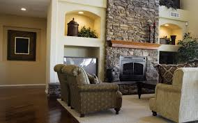 Traditional Rustic Mantel Decor For Stone Fireplace With Cool Accent Chairs