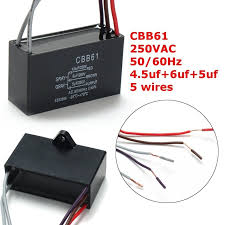 Cbb61 Ceiling Fan Capacitor by Black Cbb61 4 5uf 6uf 5uf 5 Wires Ac 250v 50 60hz For Ceiling Fan