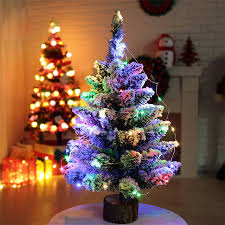 E5 Artificial Flocking Snow Christmas Tree LED Multicolor Lights Holiday Window Decorations Jul18