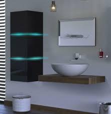 badezimmermöbel alius 15 schwarz hochglanz led beleuchtung set