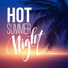 Download Hot Summer Night Party Poster Design With Typographic Elements On The Sea Beach Background Stock