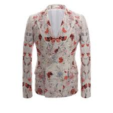 alexander mcqueen floral jacquard double breasted deconstructed