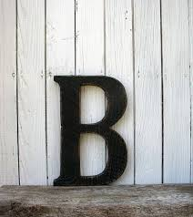 Rustic Barn Wood Letter B Painted Distressed Black 12 Inches Tall