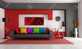 rot weiß und schwarz modernes wohnzimmer mit schwarzen rendering the bild an der wand ist eine meiner komposition
