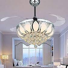 Luxury Modern Crystal Chandelier Ceiling Fan Lamp Folding Fans With Lights Chrome