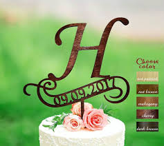 H Cake Topper Rustic Monogram Wedding Date Toppers Wooden CT133