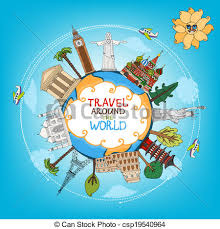 Travel Landmarks Monuments Around World Vector