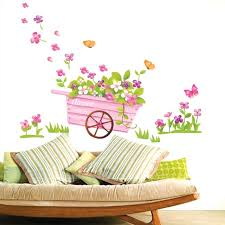 Spring Wall Sticker Flower Bicycle Bedroom Decorative Party Home Decor Girls Art Decals Wallpapers