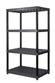 Hdx Plastic Storage Cabinets by Home Depot Hdx 4 Shelf Black Plastic Ventilated Storage Shelving