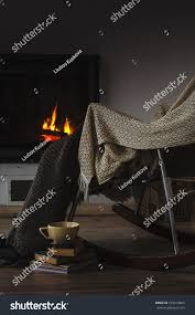100 Rocking Chair With Books Knit Rug Cup Stock Photo Edit Now 725619865