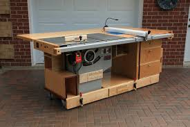 ekho mobile workshop front view showing cabinet saw router table