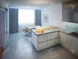 moderne küchendesign das innere der modernen küche mit weißen wänden und fliesenboden mit cremefarbenen platte küche bar arbeitsfläche aus einem