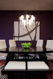 Triangle Dining Table Area Rugs Blown Glass Chandelier Contemporary Art Chairs Rug Dark Paint