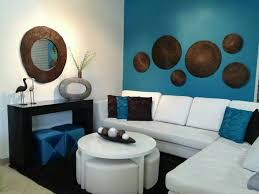 White Turquoise And Brown Living Room