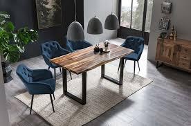 esszimmer essgruppe mit 4 stühlen esstisch komplettset wenge blau samt