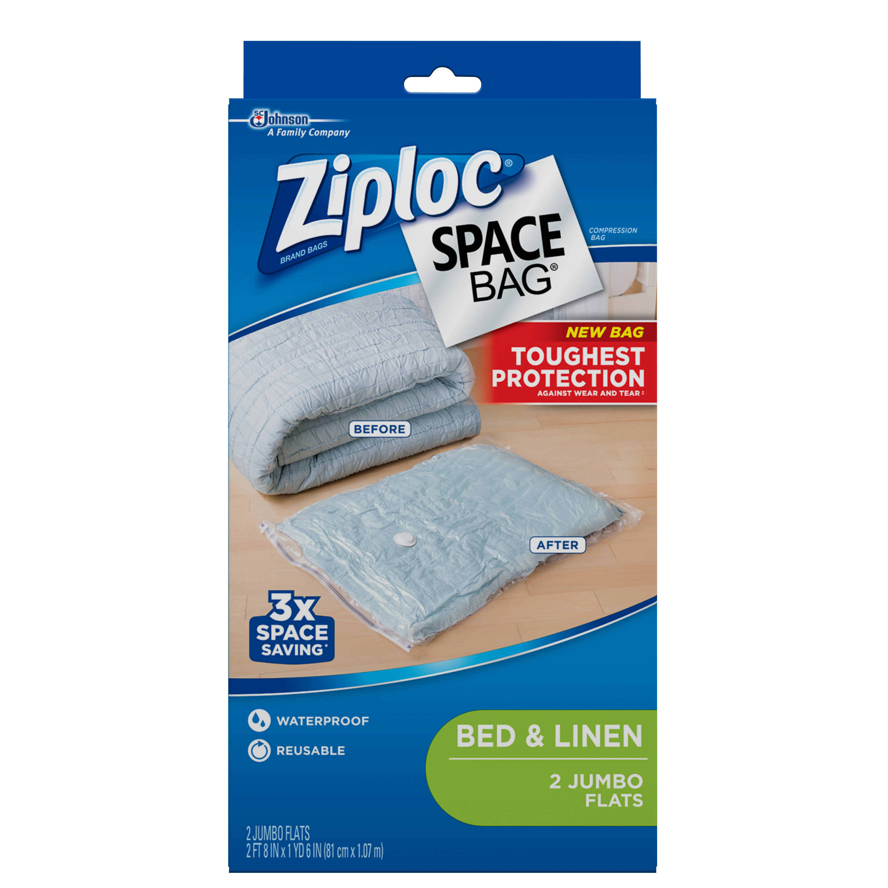 Ziploc Space Bag Jumbo Bedding Storage Bags - Clear, 2pcs
