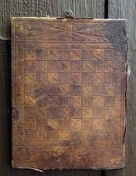 Antique Wood And Leather Checkerboard Game Board
