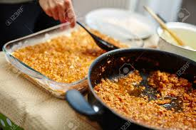 Cooking Lasagna Putting Grind Meat Recipe Filling In The Tray Stock Photo