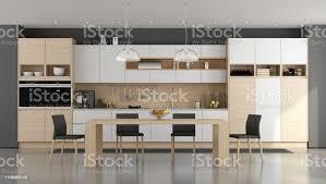 holz und weiße moderne küche stockfoto und mehr bilder architektur