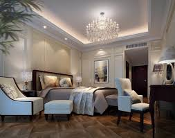Artistic Picture Of White Classy Bedroom Design And Decoration Using Glass Crystal Chandelier Including