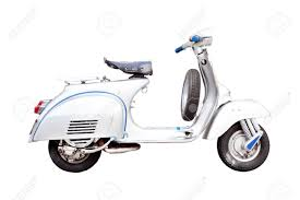 Vintage Motorcycle Classic Italian Scooter On A White Background Stock Photo