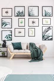 blätter poster auf weißer wand über beige sofa mit grünen decke und kissen im wohnzimmer