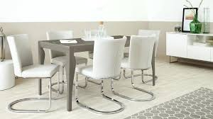 Six Seater Dining Set 6 Cantilever Chairs Taupe Grey Gloss Room Table Sets